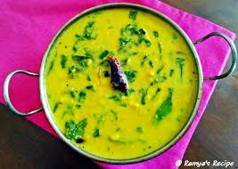 dal is a good source of proteins and spinach is rich in anti oxidants folic acid and iron this curry is made with ground coconut