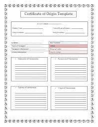 Usa Certificate Of Origin Certificate Of Origin Template Pretty