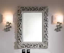 contemporary ornate mirror in silver colour finish inside silver ornate wall mirror