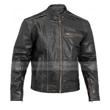 mens motorcycle vintage distressed black leather jacket