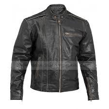 mens motorcycle vintage distressed black leather jacket