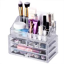 Amazon.com: Makeup Storage Organizer,Oak Leaf Cosmetic Organizer and  Jewerly Display Box - 2 Large Drawers Space and 2 Small Drawers Space-  Saving,Clear ...