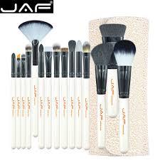 jaf studio 15 piece makeup brush kit super soft hair pu leather case holder make