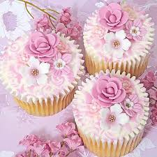 Pink And White Wedding Cupcakes With Flowers 2050115 Weddbook