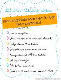 Table Manners For Kids And A Meal Time Rules Printable Healthy Free ...
