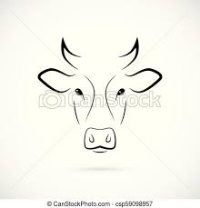Cow Template Cow Muzzle Silhouette Mammal Line Icon Minimalistic Template Design