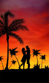 silhouette of couple surrounded by palm trees painting hd wallpaper