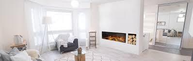scandinavian design and a modern electric fireplace