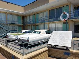 the balcony of the lorraine hotel where dr martin luther king jr was killed on april 4 1968 the wreath marks the spot where king stood