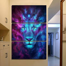 3 piece canvas print. Plain Print Firstborn By JoJoesArt 3 Piece Canvas Art Psychedelic Lion Home Decor Wall   Cheap For Piece Canvas Print Y