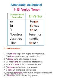 Tener Verb Chart El Verbo Tener Verbs Los Verbos Spanish Language