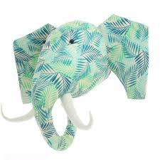 jungle leaf print elephant animal head wall decor large