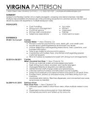 Sample Resume For Cashier Experience Resumes