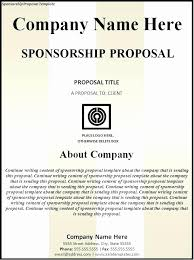 Example Of A Sponsorship Proposal Inspiration Sample Sponsorship Agreement For Race Elegant Free Racing