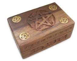 wooden tarot card box decorative pentagram