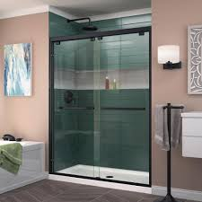 dreamline enigma x 68 in to 72 in x 76 in frameless sliding shower door in brushed stainless steel shdr 61727610 07 the home depot