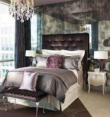mirrored bedroom wall idea and exotic upholstered headboard plus purple bedding set feat contemporary crystal chandelier