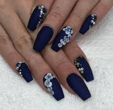 Navy Blue Nail Designs For Prom Navy Blue Nails Navy Blue Nails Blue Coffin Nails Navy