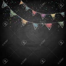 Chalkboard Background Chalkboard Background With Drawing Bunting Flags Vector Texture