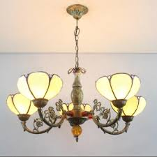 lotus shape tiffany style stained glass lampshade chandelier light 31