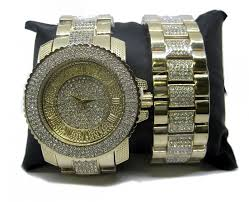men s iced out faux diamond hiphop bling watch bracelet set men s iced out faux diamond hiphop bling watch bracelet set gold