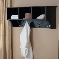 Black Coat Rack With Shelf Furniture black painted wooden wall mounted coat rack with shelves 2