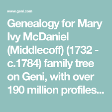 Genealogy for Mary Ivy McDaniel (Middlecoff) (1732 - c.1784) family tree on  Geni, with over 190 million profiles of anc… | Family tree online,  Mcdaniel, Anna wright
