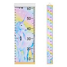 Beinou Wall Growth Chart Wood Frame Height Measurement 7 9 X 79 Canvas Hanging Wall Scale Rulerfor Kids And Adults Rainbow Unicorn Wall Decor