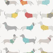 Silly Sausage Dogs Wallpaper White Red ...