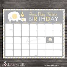 Yellow Elephant Baby Shower Guess The Due Date Calendar Printable