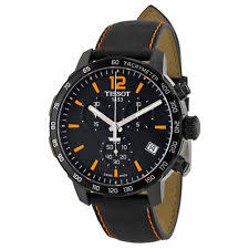 mens tissot watches tissot quickster chronograph black dial black leather mens watch t0954173605700