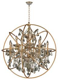 foucault s orb chandelier 13 lts chrome clear crystal flemish brass cage rustic