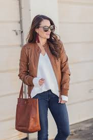 cute brown leather jacket for women via peaches in a pod blog