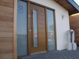 Image of: Wood and Frosted Glass Front Door