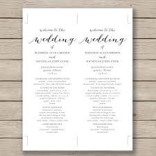 free printable wedding program templates word diy modern typography
