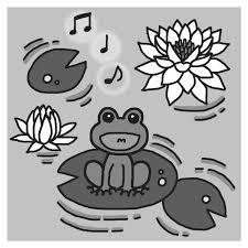 ハスの花とカエルモノクロ梅雨6月の無料イラスト夏の季節行事素材