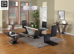 extendable dining table set: viva black granite contemporary extending dining table set