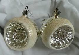 13x Christbaumschmuck Alt Silber Weiß Besandet Kugeln