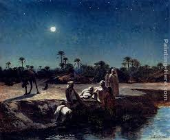 an arab encampment by moonlight painting jean baptiste paul lazerges an arab encampment by moonlight
