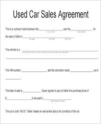As Is Document For Car Sale Sample Used Vehicle Sale Agreement In Seller For Buyer Form