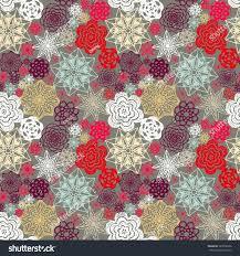 Crochet Flowers New Design Seamless Crochet Flowers Pattern New Year Stock Vector