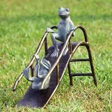 frog garden statue. image is loading sliding-frogs-garden-sculpture-frog-playground-slide-metal- frog garden statue