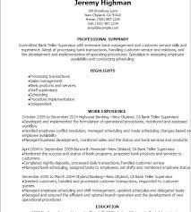 Bank Teller Supervisor Resume Resume Teller Supervisor Resume