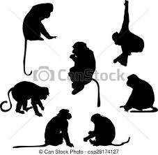 遊び好きである シルエット サル