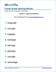 Fourth Grade Spelling Words | K5 Learning