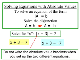 9 3 equations and absolute value goal s to solve