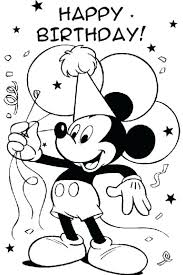 Happy Birthday Mickey Mouse Coloring Pages Colouring Page Free