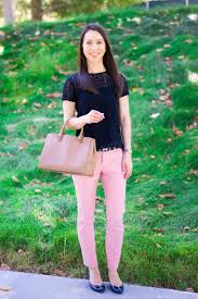 How To Wear Light Pink Pants How To Transition Summer Pants To Fall Petite Style Script