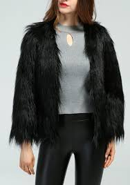 black ons v neck long sleeve fashion faux fur coat