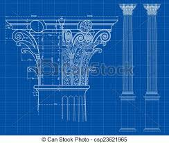 Detail Of Corinthian Column With Measures On Technical Background